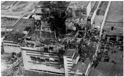 Central nuclear de Chernobyl luego de la explosión
