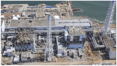Vista de la Central nuclear Fukushima Daiichi posterior al Accidente