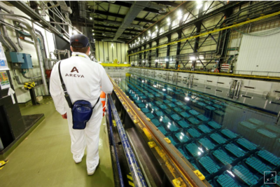Piscina de combustible gastado Planta Nuclear La Hague, Francia. (Fuente: Reuters)